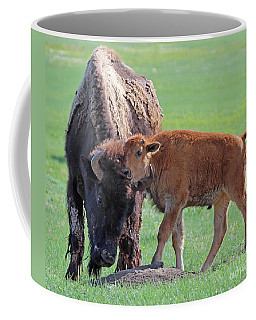 Coffee Mug featuring the photograph Bison With Young Calf by Bill Gabbert