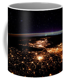 Coffee Mug featuring the photograph Europe At Night, Satellite View by Science Source