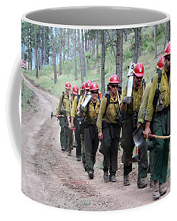 Coffee Mug featuring the photograph Fire Crew Walks To Their Assignment On Myrtle Fire by Bill Gabbert