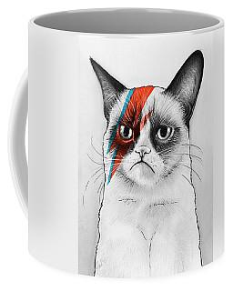 Grumpy Cat As David Bowie Coffee Mug by Olga Shvartsur