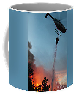 Coffee Mug featuring the photograph Helicopter Drops Water On White Draw Fire by Bill Gabbert