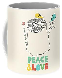 Peace And Love Coffee Mug by Eric Fan