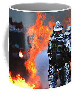 Coffee Mug featuring the photograph Simulated C-130 Hercules Crash, Osan by Science Source