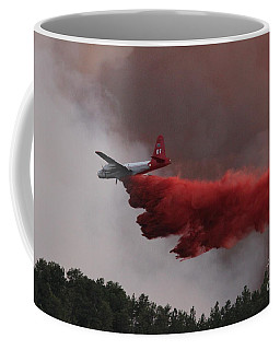 Coffee Mug featuring the photograph Tanker 07 Drops On The Myrtle Fire by Bill Gabbert
