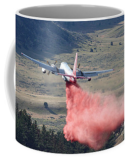 Coffee Mug featuring the photograph Tanker 45 Dropping On Whoopup Fire by Bill Gabbert