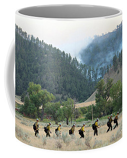Coffee Mug featuring the photograph Wyoming Hot Shots Walk To Their Assignment by Bill Gabbert