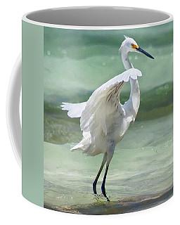 A Snowy Egret (egretta Thula) At Mahoe Coffee Mug by John Edwards