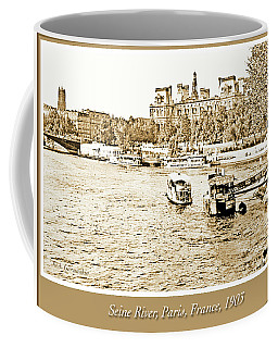 Coffee Mug featuring the photograph Boats In The Seine River, Paris, 1903, Vintage Photograph by A Gurmankin