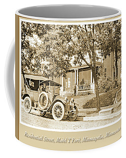 Coffee Mug featuring the photograph Minneapolis Residential Street, Model T Ford, C.1915, Vintage Ph by A Gurmankin