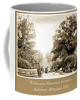 Coffee Mug featuring the photograph Washington Monument Grounds Baltimore, 1900 Vintage Photograph by A Gurmankin