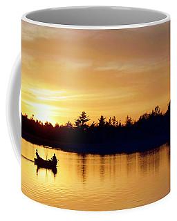 Coffee Mug featuring the photograph Fishermen On A Lake At Sunset by A Gurmankin