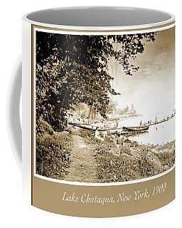 Coffee Mug featuring the photograph Lake Chataqua, C. 1900, Vintage Photograph by A Gurmankin