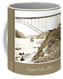 Coffee Mug featuring the photograph Niagara Falls Ferry Boat, Vintage Photograph, 1904 by A Gurmankin