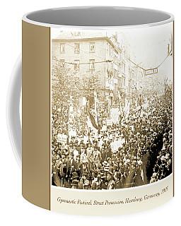 Coffee Mug featuring the photograph Street Procession, Gymnastic Festival, Hamburg, Germany, 1903 by A Gurmankin