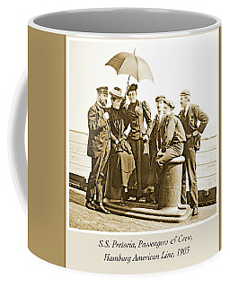 Coffee Mug featuring the photograph Passangers And Crew, S.s. Pretoria, 1903, Vintage Photograph by A Gurmankin