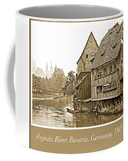 Coffee Mug featuring the photograph Pegnitz River, Bavaria, Germany, 1903, Vintage Photograph by A Gurmankin