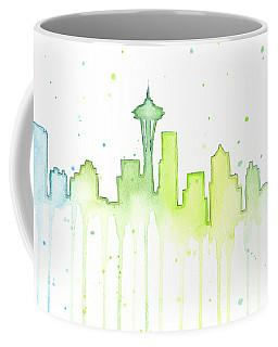 Seattle Skyline Watercolor  Coffee Mug by Olga Shvartsur