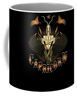 Coffee Mug featuring the drawing The Goat - Capricorn Spirit by Raphael Lopez