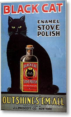 1920s Usa Cats Black Cat Enamel Stove Metal Print by The Advertising Archives