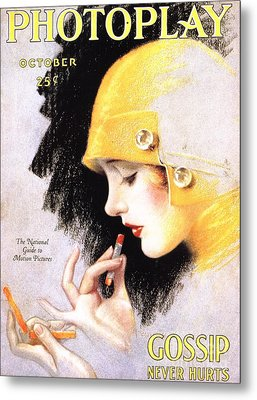 1920s Usa Photoplay Lipsticks Putting Metal Print by The Advertising Archives