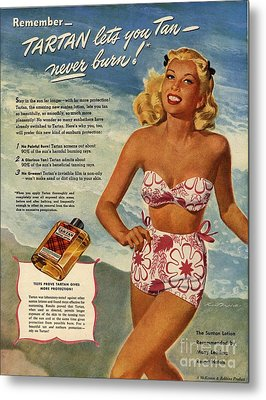 1940s Usa Tartan   Lotions Swim Suits Metal Print by The Advertising Archives
