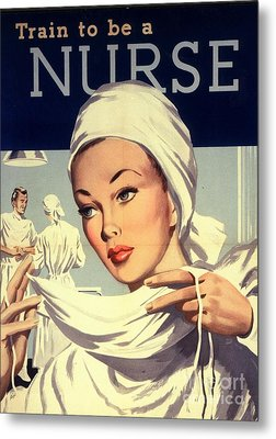 1950s Uk Nurses Hospitals Medical Metal Print by The Advertising Archives