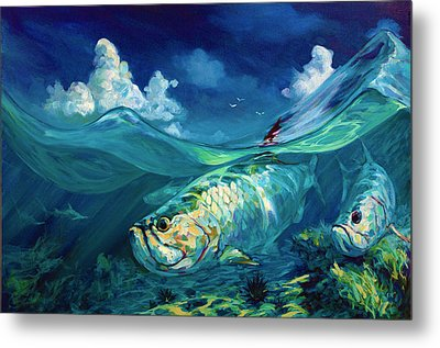 A Place I'd Rather Be - Caribbean Tarpon Fish Fly Fishing Painting Metal Print by Savlen Art