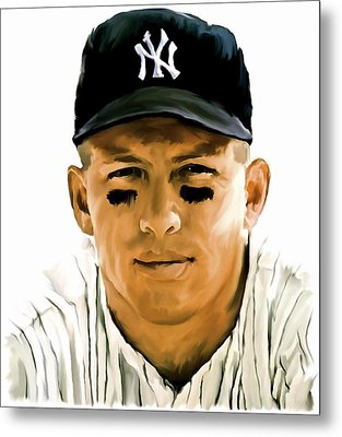 American Icon Mickey Mantle Metal Print by Iconic Images Art Gallery David Pucciarelli