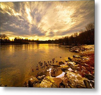 Androscoggin River Between Lewiston And Auburn Metal Print by Bob Orsillo