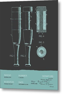 Baseball Bat Patent From 1919 - Gray Blue Metal Print by Aged Pixel