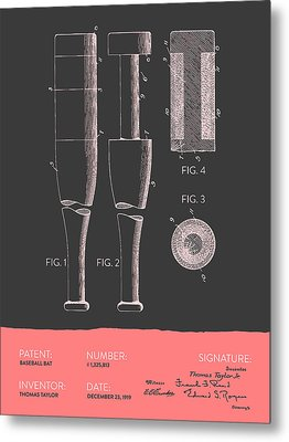 Baseball Bat Patent From 1919 - Gray Salmon Metal Print by Aged Pixel