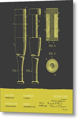 Baseball Bat Patent From 1919 - Gray Yellow Metal Print by Aged Pixel
