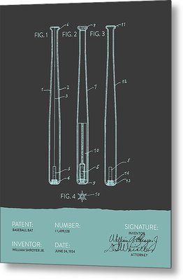 Baseball Bat Patent From 1924 - Gray Blue Metal Print by Aged Pixel