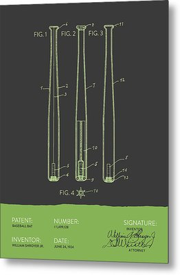 Baseball Bat Patent From 1924 - Gray Green Metal Print by Aged Pixel