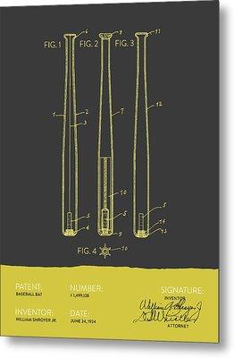Baseball Bat Patent From 1924 - Gray Yellow Metal Print by Aged Pixel