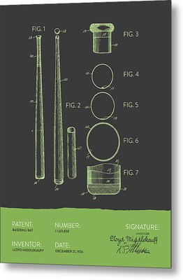 Baseball Bat Patent From 1926 - Gray Green Metal Print by Aged Pixel