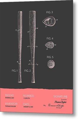 Baseball Bat Patent From 1939 - Gray Salmon Metal Print by Aged Pixel