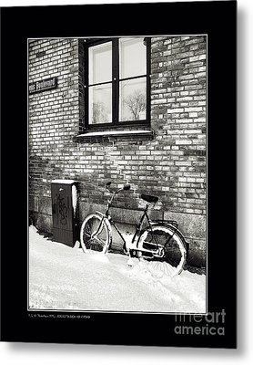 Bicycle Under A Window Metal Print by Pedro L Gili