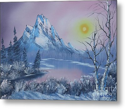 Blue Winter's Sunglow  Metal Print by Bob Williams