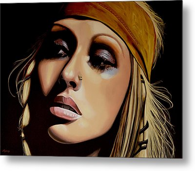 Christina Aguilera Painting Metal Print by Paul Meijering