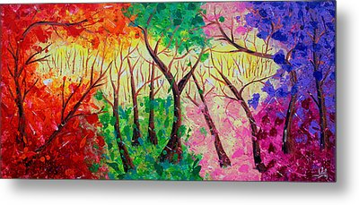 Colorful Mystical Forest Metal Print by Julia Apostolova