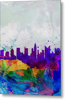 Columbus Watercolor Skyline Metal Print by Naxart Studio