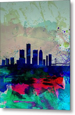 Detroit Watercolor Skyline Metal Print by Naxart Studio