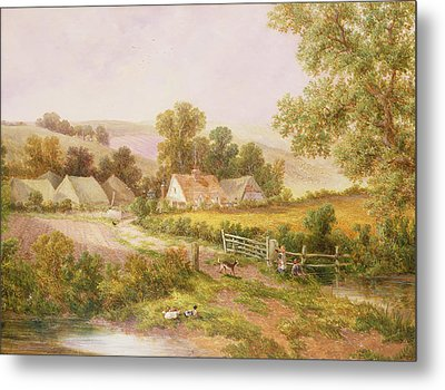 Farmyard Scene Metal Print by C L Boes