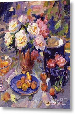 Flowers And Fruit At Montecito Metal Print by David Lloyd Glover