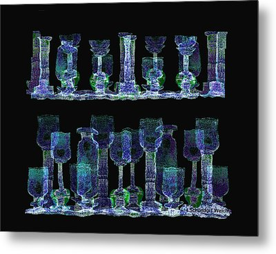 Glasses  - 111 Metal Print by Irmgard Schoendorf Welch