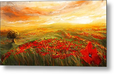 Glowing Rhapsody - Poppies Impressionist Paintings Metal Print by Lourry Legarde