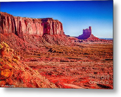 Golden Hour Sunrise In Monument Valley Metal Print by Bob and Nadine Johnston