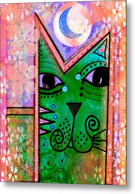 House Of Cats Series - Moon Cat Metal Print by Moon Stumpp
