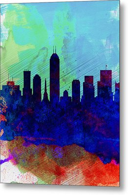 IIndianapolis Watercolor Skyline Metal Print by Naxart Studio